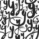 Vector Seamless Pattern with Calligraphy Letters Y Royalty Free Stock Images