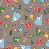Vector seamless pattern of Camping Elements Royalty Free Stock Photo