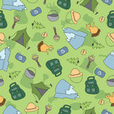 Vector seamless pattern of Camping Elements Royalty Free Stock Images