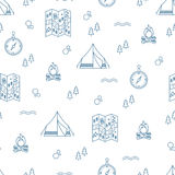 Vector seamless pattern with camping equipment in linear design. Vector monochrome seamless pattern with line camping icons - map, stopwatch, tent, campfire Stock Image