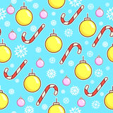 Vector seamless pattern. Candy canes and xmas toys balls. Christmas wrapping paper design. White snowflakes on blue Stock Photo
