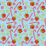 Vector Seamless Pattern with Candy Stick and Gift Box Royalty Free Stock Photos