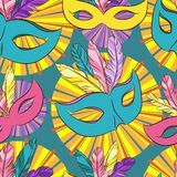 Vector seamless pattern with carnival mask Stock Photo