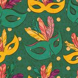 Vector seamless pattern with carnival mask Royalty Free Stock Photography