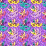 Vector seamless pattern with carnival mask Stock Images
