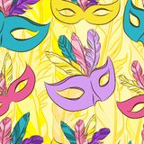 Vector seamless pattern with carnival mask Royalty Free Stock Photos