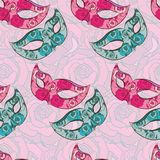 Vector seamless pattern with carnival mask Royalty Free Stock Photo