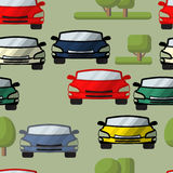 Vector seamless pattern of cars, trees. Automobile  background. Stock Images