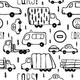 Vector seamless pattern with cars and trucks. Vector seamless pattern with black cars and trucks on a white background Stock Photo