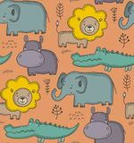 Vector seamless pattern with cartoon African animals, jungle plants and trees. vector illustration