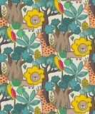 Vector seamless pattern with cartoon African animals, jungle plants and trees. stock illustration