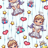 Vector seamless pattern with cartoon angels and Royalty Free Stock Image
