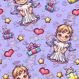 Vector seamless pattern with cartoon angels and Stock Images