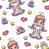 Vector seamless pattern with cartoon angels and Stock Photo