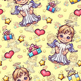 Vector seamless pattern with cartoon angels and Royalty Free Stock Images