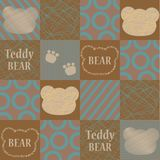 Vector seamless pattern with a cartoon bear and inscriptions. Cartoon print. The template for the cover fabric, books Royalty Free Stock Images