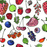 Vector seamless pattern with cartoon berries Stock Photography