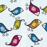 Vector seamless pattern with cartoon birds. Stock Photos