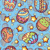 Vector seamless pattern of cartoon color eggs Stock Images
