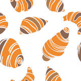 Vector seamless pattern with cartoon croissants background Royalty Free Stock Photos