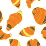 Vector seamless pattern with cartoon croissants background Stock Photos