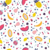 Vector seamless pattern with cartoon fruits and berries. Stock Images
