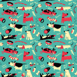 Vector seamless pattern with cartoon funny dogs Royalty Free Stock Photos