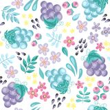 Vector seamless pattern with cartoon grapes. Seamless pattern with abstract cartoon grapes and flowers on a white background. Vector illustration Royalty Free Stock Images