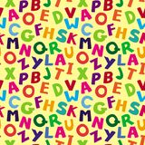 Vector seamless pattern with cartoon letters Royalty Free Stock Photos