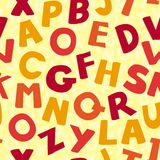 Vector seamless pattern with cartoon letters Royalty Free Stock Image