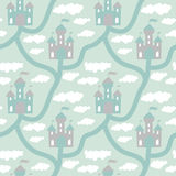 Vector seamless pattern with cartoon map kingdom Stock Images