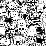 Vector seamless pattern, cartoon monsters, characters Stock Photos