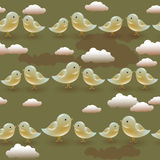 Vector seamless pattern with cartoon olive birds Stock Photography