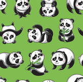 Vector seamless pattern with cartoon pandas Royalty Free Stock Photography