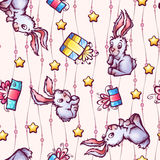 Vector seamless pattern with cartoon rabbits and Stock Image