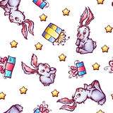 Vector seamless pattern with cartoon rabbits and Stock Photos