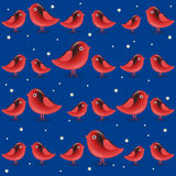 Vector seamless pattern with cartoon red birds Stock Photo