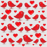 Vector seamless pattern with cartoon red birds Royalty Free Stock Photo