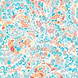 Vector seamless pattern with stylized cartoon shrimp tales, abstract ornaments, hand drawn vector illustration made of simple dood. Vector seamless pattern with royalty free illustration