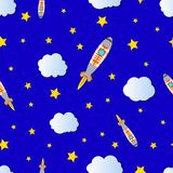 Vector Seamless Pattern: Cartoon Space, Cloudy and Starry Bright Blue Sky. vector illustration