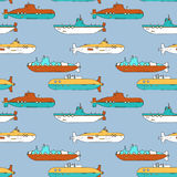 Vector seamless pattern with cartoon submarines Royalty Free Stock Photography