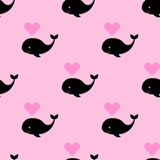 Vector seamless pattern with a cartoon whale with heart fountain Royalty Free Stock Photo