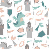 Vector seamless pattern with castle, horse and prince Royalty Free Stock Photography