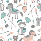 Vector seamless pattern with castle, horse and prince Royalty Free Stock Images