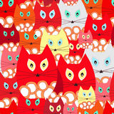 Vector seamless pattern with cat, cartoon doodling design.  back Royalty Free Stock Photography