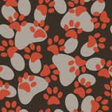 Vector seamless pattern with cat or dog footprints. Cute colorfu Stock Photos