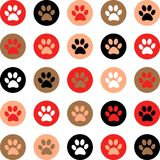 Vector seamless pattern with cat or dog footprints. Cute colorfu Stock Images