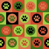 Vector seamless pattern with cat or dog footprints. Cute colorfu Royalty Free Stock Photo