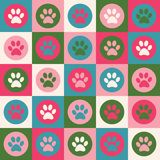 Vector seamless pattern with cat or dog footprints. Cute colorfu Stock Photography