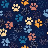 Vector seamless pattern with cat or dog footprints. Cute colorfu Stock Photo